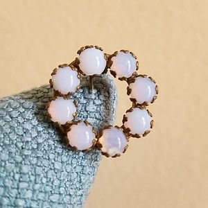 ANTIQUE Gorgeous Glowing Opal or Moonstone C Clasp